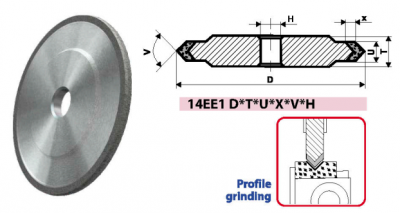 14EE1_FLAT GRINDING WHEELS WITH DOUBLE-SIDED CONICAL PROFILE
